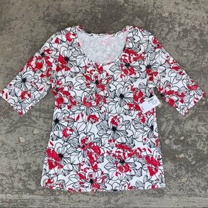 2/$16 Cleo Floral Scoop Neck 3/4 Sleeve T-Shirt